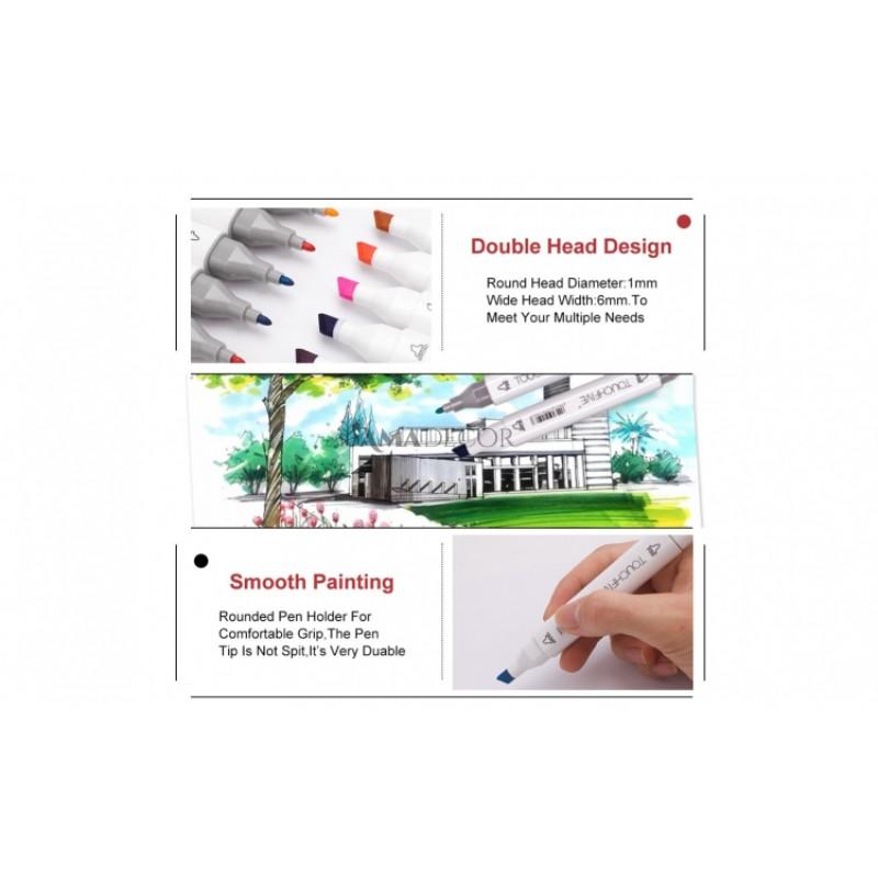 Set 60 culori markere pentru colorat cu 2 capete Art Marker